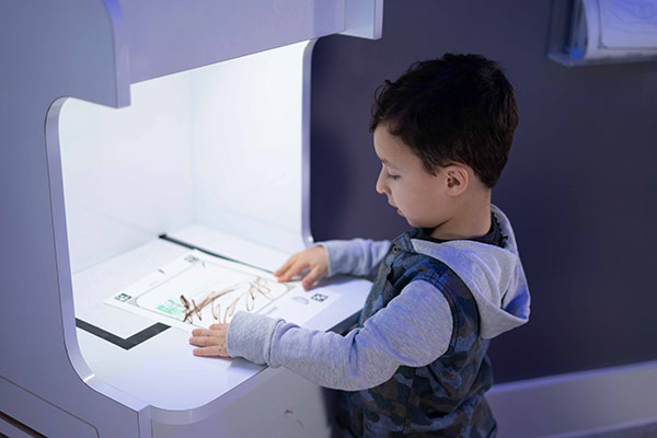 child uploading a picture to the big screen in the animation art room at Ready Set FUN!